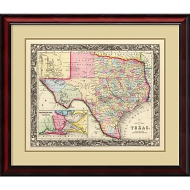 Amanti Art County Map of Texas, 1860 Framed Art Print (DSW987754)