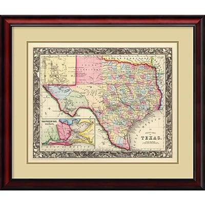 Amanti Art 'County Map of Texas, 1860' Framed Art Print