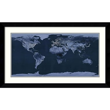 Amanti Art Satellite View of the World Showing Electric Lights and Usage Framed Art Print (DSW991991)