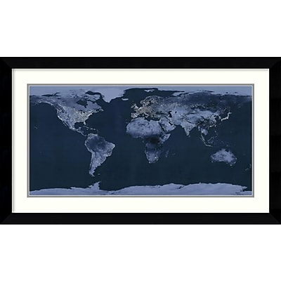 Amanti Art 'Satellite View of the World Showing Electric Lights and Usage' Framed Art Print