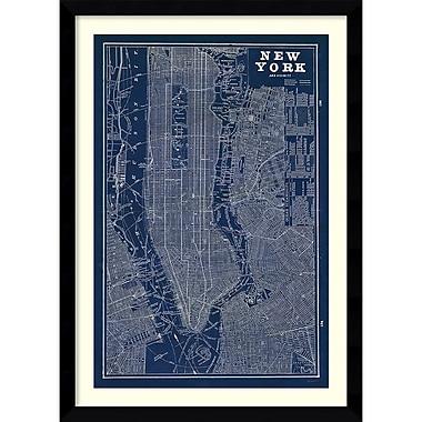 Amanti Art Blueprint Map New York Framed Art Print (DSW992008)