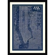 Amanti Art 'Blueprint Map New York' Framed Art Print