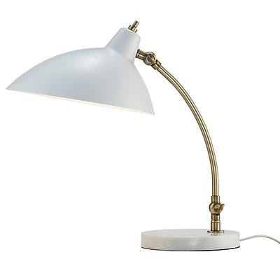 Adesso Peggy Desk Lamp, White/Antique Brass (3168-02)