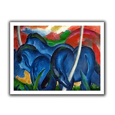 ArtWall Big Blue Horses' by Franz Marc Painting Print on Rolled Canvas; 22'' H x 28'' W