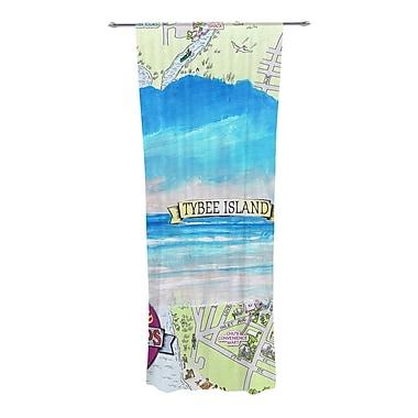 KESS InHouse Tybee Island Graphic Print & Text Sheer Rod Pocket Curtain Panels (Set of 2)