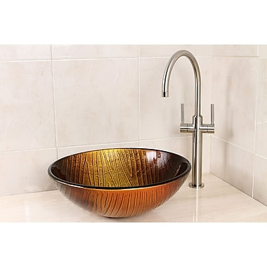 Kingston Brass Fauceture Glass Circular Vessel Bathroom Sink; Sandstone