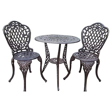 Oakland Living Mississippi 3 Piece Bistro Set; Antique Bronze