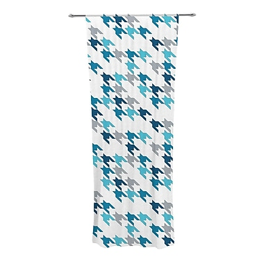 KESS InHouse Tooth Geometric Semi-Sheer Rod Pocket Curtain Panels (Set of 2); Blue/Navy/White