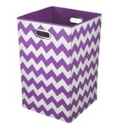 Modern Littles Chevron Folding Laundry Hamper; Purple