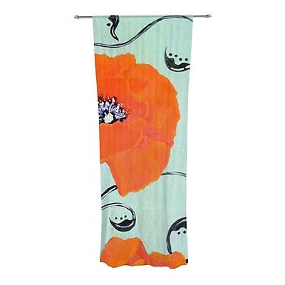 KESS InHouse Vintage Poppy Nature / Floral Sheer Rod Pocket Curtain Panels (Set of 2)