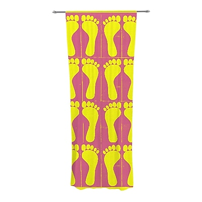 KESS InHouse Footprints Graphic Print and Text Semi-Sheer Rod Pocket Curtain Panels (Set of 2) WYF078277545230