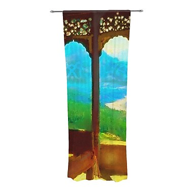 KESS InHouse Mountain Retreat Graphic Print and Text Semi-Sheer Curtain Panels (Set of 2)