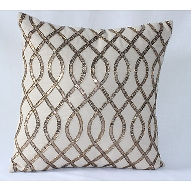 Auburn Textile Sequence Embroidered Cotton Throw Pillow