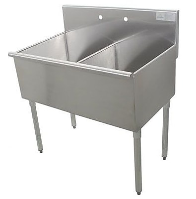 Advance Tabco 600 Series Double 2 Compartment Floor Service Sink; 41'' H x 21'' W x 60'' D