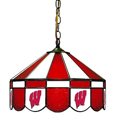 Wave 7 NCAA Wide Swag Hanging Lamp; Wisconsin - ''W'' Logo