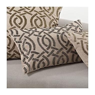 Saro Beaded Cotton Throw Pillow; Pewter