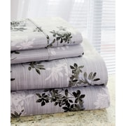 Hotel New York Park Avenue 350 Thread Count 4 Piece Cotton Rich Plum Flower Printed Sheet Set; King