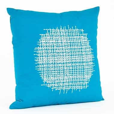 Saro Stitched Cotton Throw Pillow; Turquoise