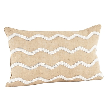 Saro Beaded Cotton Lumbar Pillow