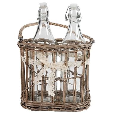 A&B Home 2 Bottles in Basket w/ Ribbon