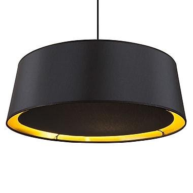 Lights Up! Weegee 2-Light Drum Pendant; Metallic Black and Gold