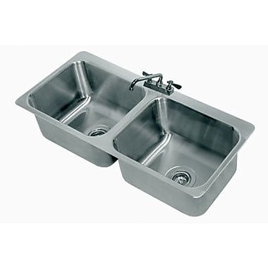 Advance Tabco 304 Series Double Seamless Bowl 2 Compartment Drop-in Sink w/ Faucet