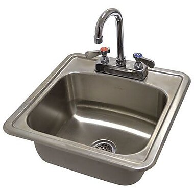 Advance Tabco 304 Series 15'' x 15'' Single Seamless Bowl Drop-in Hand Sink w/ Faucet