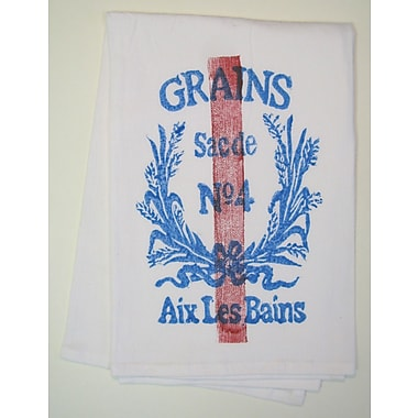 Lowcountry Linens Grains Kitchen Towel; Blue/Red on White