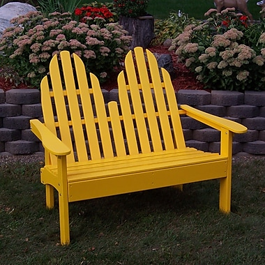 Prairie Leisure Design Adirondack Wood Garden Bench; Buttercup Yellow