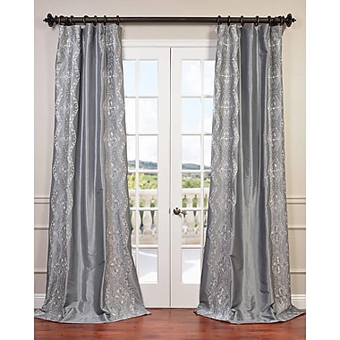 Half Price Drapes Chai Embroidered Faux Silk Rod Pocket Single Curtain Panel; 50'' W x 108''L