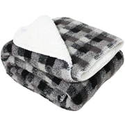 J&M Home Fashions Jacquard Sherpa Fleece Throw Blanket; Gray