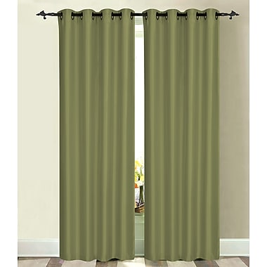 Dainty Home Luna Solid Blackout Thermal Grommet Single Curtain Panel; Dusky Green