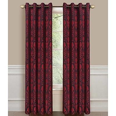 Dainty Home Lavista Single Curtain Panel; Black/Burgundy