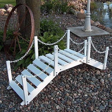 Prairie Leisure Design Decorative Garden Bridge w/ Posts and Chain; Satin White