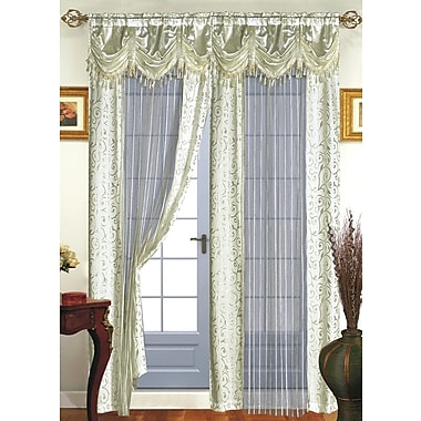 Dainty Home Tango Nature/Floral Sheer Rod Pocket Single Curtain Panel; Ivory