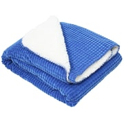 J&M Home Fashions Corduroy Sherpa Fleece Throw; Blue