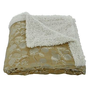 Plazatex / Sheradian Noble House Garden Sherpa Throw Blanket; Gold