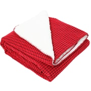 J&M Home Fashions Corduroy Sherpa Fleece Throw; Red