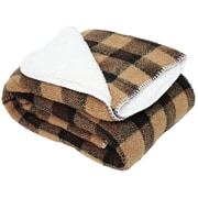 J&M Home Fashions Jacquard Sherpa Fleece Throw Blanket; Brown