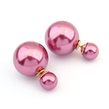 Double Sided Pearl Stud Earrings, Shiny Pink