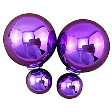 Double Sided Pearl Stud Earrings, Shiny Purple