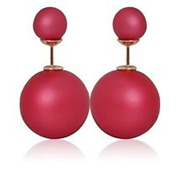 Double Sided Pearl Stud Earrings, Shiny Rose Red