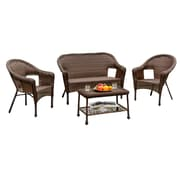 W Unlimited Outdoor Patio Furniture, Earth Collection Entertainment Deep Seating 4-Piece Set, Cappuccino