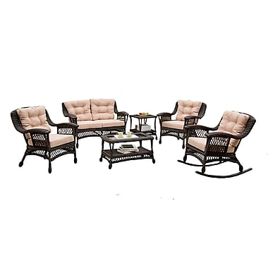W Unlimited Moon Collection 6-Piece Wicker Set, Dark Brown