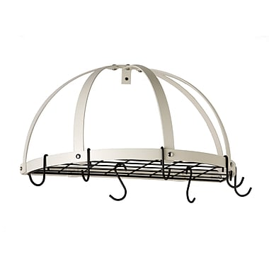 Rogar Gourmet Half Dome Wall Mounted Pot Rack w/ Grid; White/Black