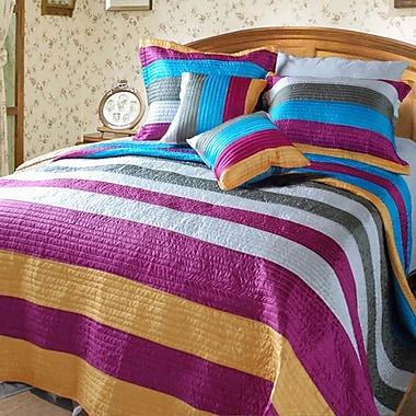 DaDa Bedding Suburban Stripes Quilt Set; King