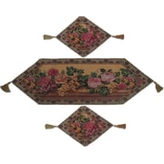 DaDa Bedding Parade of Fruit and Rose 3 Piece Woven Table Runner Set