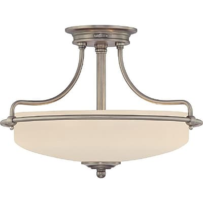 Quoizel GF1717AN Compact Fluorescent Semi-Flush Mount, Antique Nickel