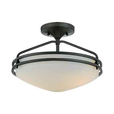 Quoizel OZ1713IN Compact Fluorescent Semi-Flush Mount, Iron Gate
