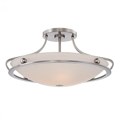 Quoizel UPWS1722BN Compact Fluorescent Semi-Flush Mount, Brushed Nickel